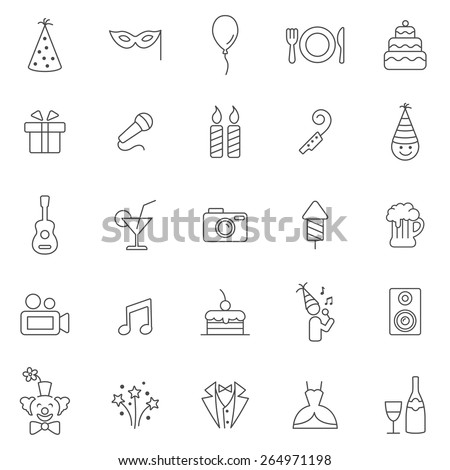 Party line icons set.Vector - stock vector