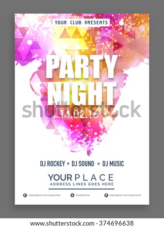 Party Night Flyer, Banner or Template decorated with shiny colorful abstract design. - stock vector