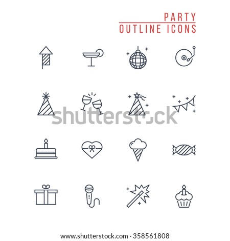Party Outline Icons - stock vector