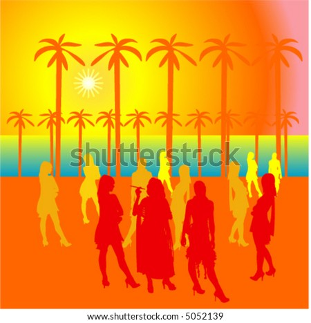 Party people at the open area with silhouettes. The sun and palm trees - stock vector