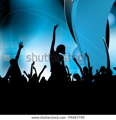 Party People Concert Crowd - stock vector