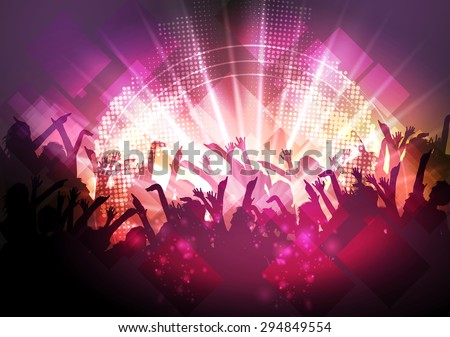 Party People Crowd, Festive Disco Event Background - Vector Illustration - stock vector