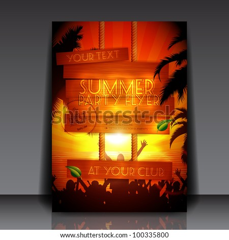 Party people on the beach in summer - Fully Editable Party Flyer - EPS10 vector illustration - stock vector