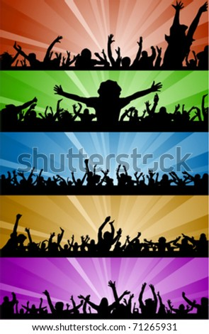 party people with lighting - stock vector
