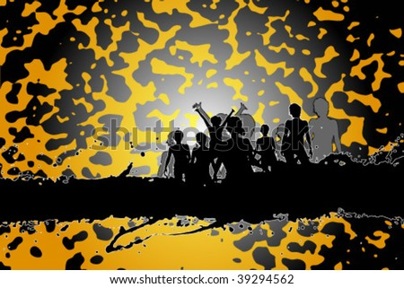 Party peoples, audience cheering success vector background - stock vector