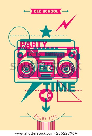Party poster design with colorful abstraction. Vector illustration. - stock vector