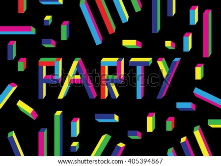 Party poster template with confetti and colorful graphic on red background. Vector illustration.