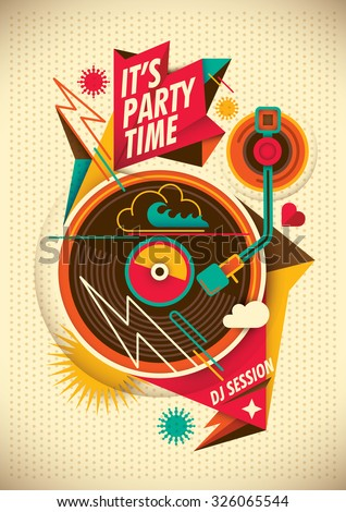 Party poster. Vector illustration. - stock vector