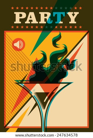 Party poster with cocktail. Vector illustration. - stock vector
