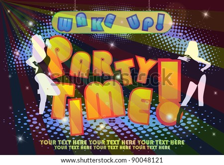 Party poster with girls - stock vector