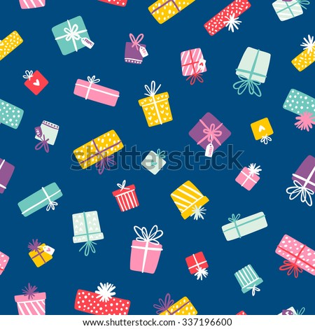Party presents colorful seamless pattern on blue background
