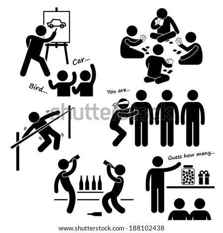 Party Recreational Games Stick Figure Pictogram Icon Clipart - stock vector