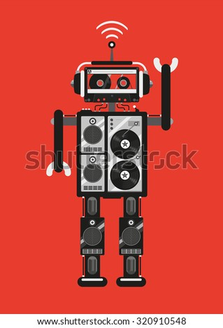 Party robot. The robot consists of audio equipment. Retro futuristic style. Template for party posters. - stock vector