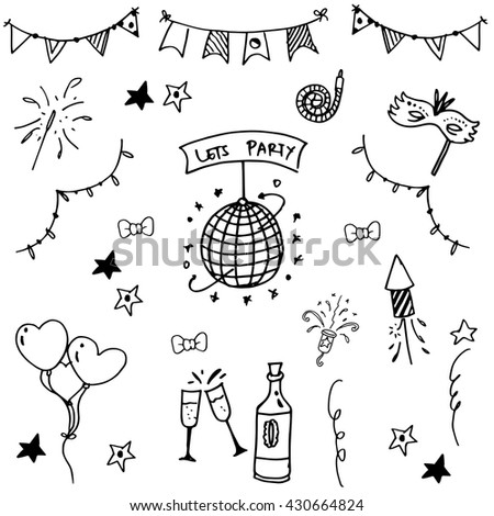 Party set doodle vector art black and white - stock vector