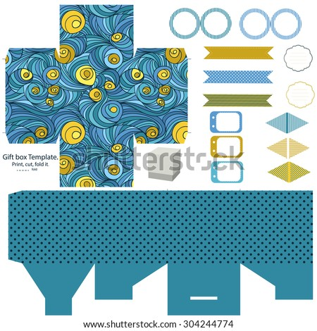 Party set. Gift box template.  Abstract colored swirl pattern. Empty labels and cupcake toppers and food tags.  - stock vector