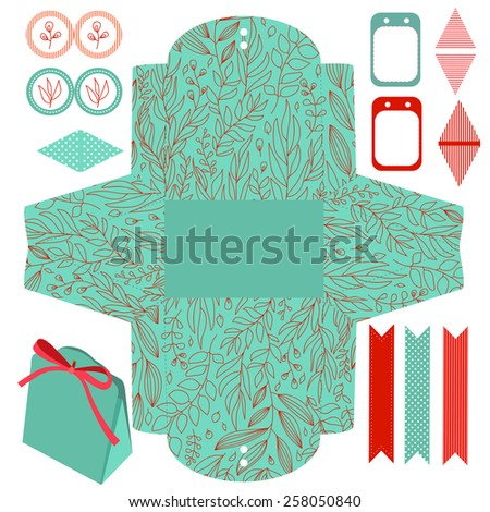 Party set. Gift box template.  Abstract floral nature pattern. Empty labels and cupcake toppers and food tags. Isolated. - stock vector
