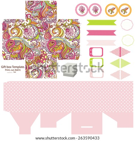 party set gift box template abstract floral pattern empty labels and cupcake toppers