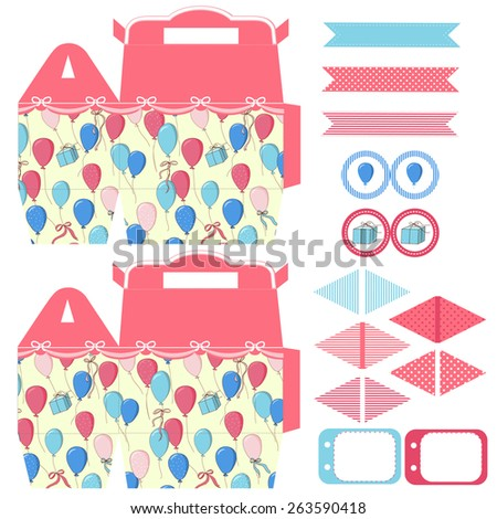 Party set. Gift box template. Balloons, gift and ribbons in the blue sky pattern. Empty labels and cupcake toppers and food tags.  - stock vector