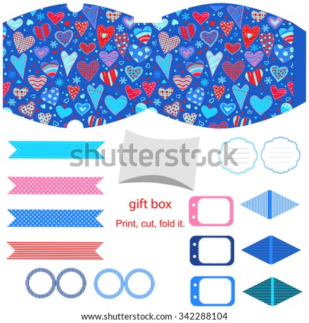 Party set. Gift box template. Empty labels and cupcake toppers and food tags.  Hearts love pattern. - stock vector