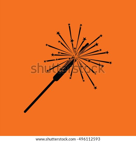 Party sparkler icon. Orange background with black. Vector illustration.