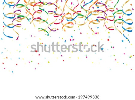 Party streamers and colorful confetti on white background, illustration. - stock vector