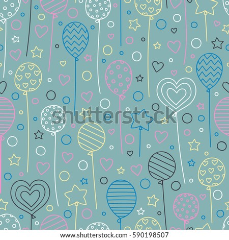 Party time! Vector seamless pattern with hand drawn balloons. Doodle elements - stars, dots, hearts, balloons. Festive background for birthday party.  Pink, blue, yellow, objects on gray backdrop.