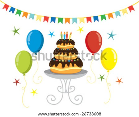Party vector illustration of cake, balloons and flags