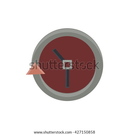 Passage of time on the wall clock flat icon in vintage color theme illustration object - stock vector
