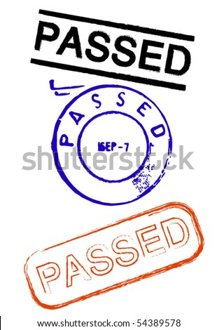 Passed rubber stamps - stock vector