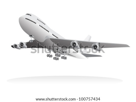 Passenger aircraft leaving ground - stock vector