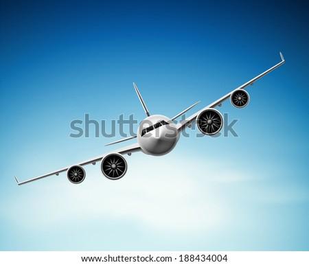 Passenger airplane in sky, eps 10 - stock vector