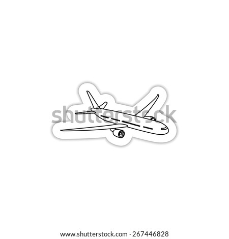 passenger airplane soaring on a white background with shadow  - stock vector