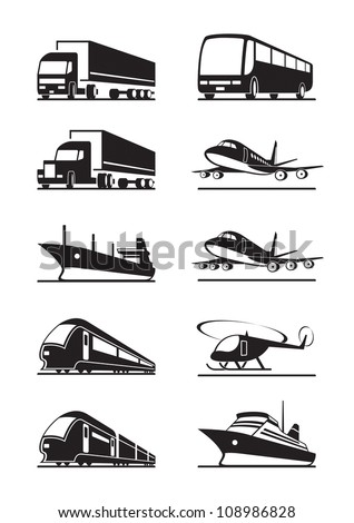 Passenger and cargo transportation - vector illustration - stock vector