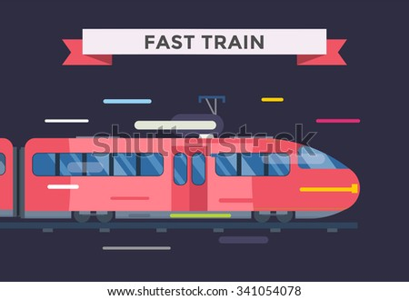 Passenger and transportation trains vector collection. Trains vector illustration on white background. Trains silhouette isolated on white. Passenger and cargo trains vector on railway. Travel train - stock vector