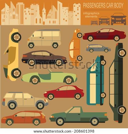 Passenger car, transportation infographics.  Vector illustration - stock vector