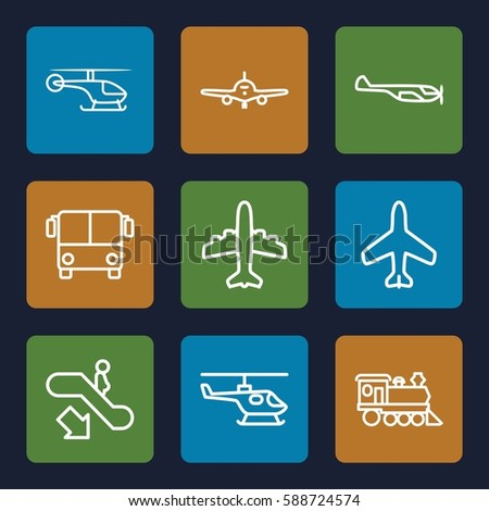 passenger icons set. Set of 9 passenger outline icons such as plane, airport bus, escalator down, helicopter
