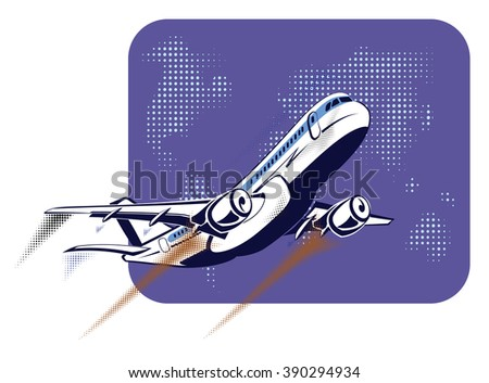 Passenger plane taking off on the background of abstract world map in retro pop art style. The concept of travel and flights, transportation aviation. - stock vector