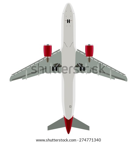Passenger plane view from below on a white background - stock vector