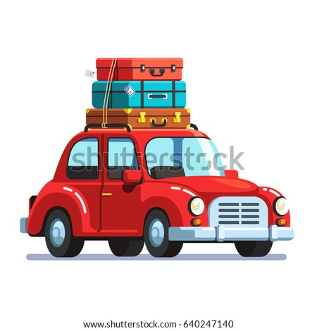 Passenger Retro Car With A Luggage Bags On The Roof Rack Flat Style Vector Illustration