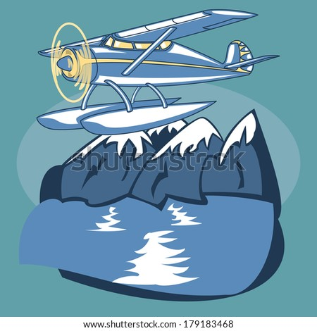 Passenger Sea Plane is featured flying over mountain lake in this sketch-like vector illustration. - stock vector