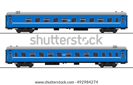 Passenger train cars. Railway carriage. vector
