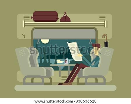 Passenger train. Transportation travel, railway transport, umbrella and luggage, table and window, newspaper and tea, flat vector illustration - stock vector