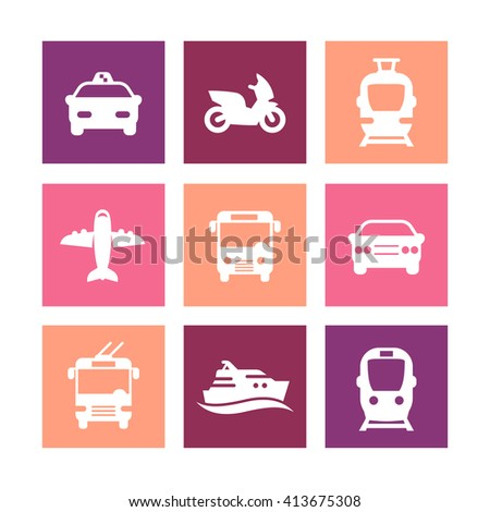 Passenger transport icons, public transportation vector, bus, subway, taxi, airplane, ship, simple icons on squares