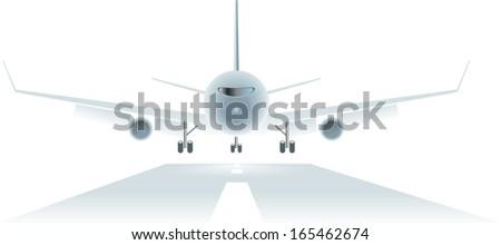 passengers airplane landing to the runway - stock vector