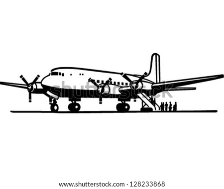 Passengers Boarding Plane - Retro Clipart Illustration - stock vector