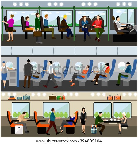 Passengers in public transport concept vector banners set. People in bus, train and airplane. Transport interior. - stock vector