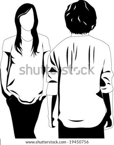 Passing by, boy and girl. - stock vector