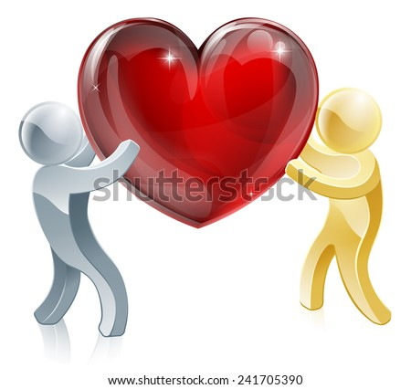 Passing love heart illustration of a silver person passing a big heart to a gold person or carrying it together  - stock vector