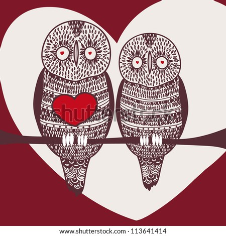 passion owls on tree branch in love - stock vector