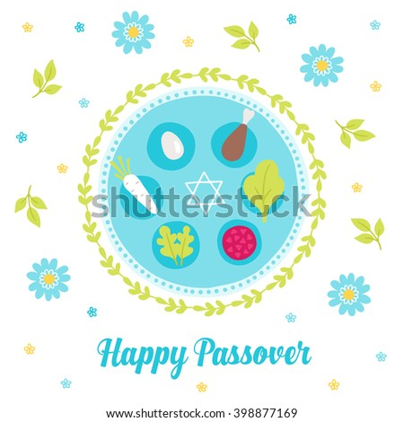Passover greeting card seder plate wreath stock photo photo vector passover greeting card with seder plate wreath branches jewish star and flowers m4hsunfo